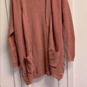 Long thick crochet winter cardigan